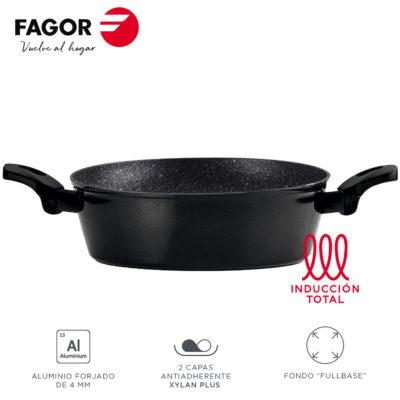 Tartera Fagor Vivant con Antiadherente Doble Capa, Aluminio Forjado de 3 mm Espesor, Compatible con Toda tipo de Cocina, inducción, Fondo difusor de Acero Inoxidable. Apta lavavajillas
